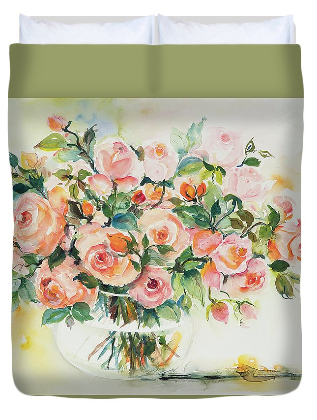 Floral Duvet Cover featuring the painting Watercolor Series 13 by Ingrid Dohm