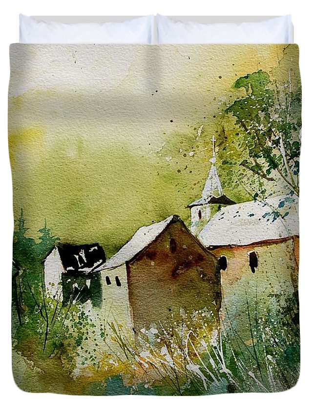 Landscape Duvet Cover featuring the painting Watercolor Sosoye by Pol Ledent