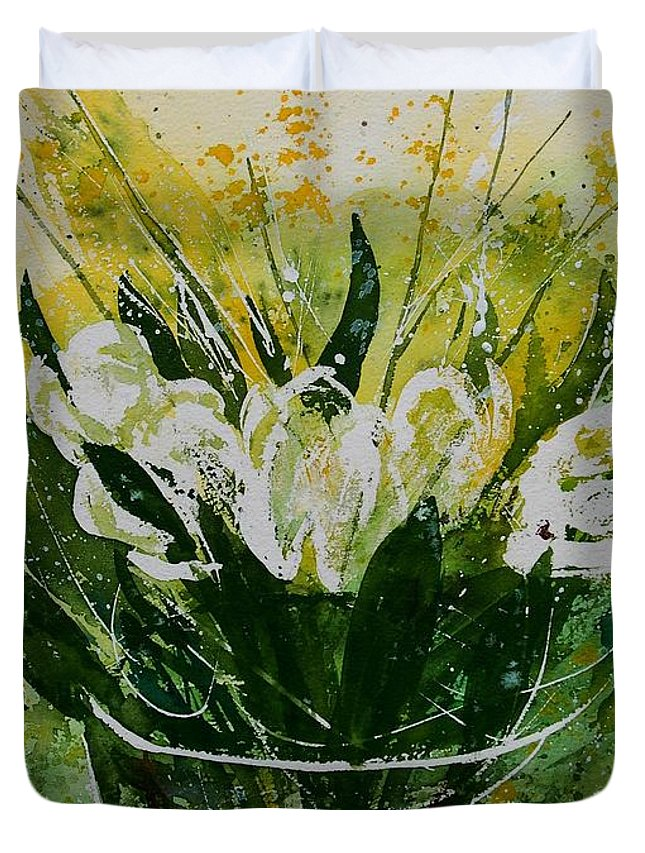 Flowers Duvet Cover featuring the painting Watercolor Tulips by Pol Ledent