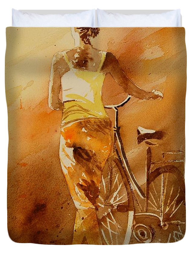 Figurative Duvet Cover featuring the painting Watercolor With My Bike by Pol Ledent