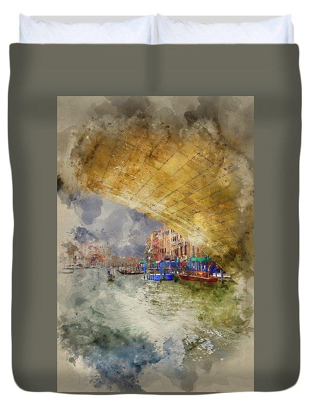Arrangement Duvet Cover featuring the photograph Watercolour Painting Of Low View Through Rialto Bridge Along Gra by Matthew Gibson