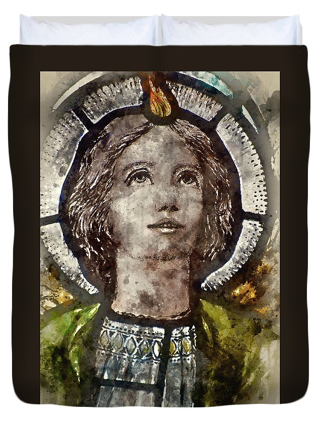 Stained Duvet Cover featuring the photograph Watercolour Painting Of Stained Glass Religious Window In Church by Matthew Gibson