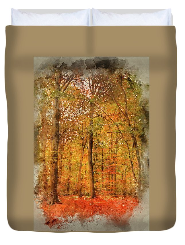 Landscape Duvet Cover featuring the photograph Watercolour Painting Of Vibrant Autumn Fall Forest Landscape Ima by Matthew Gibson
