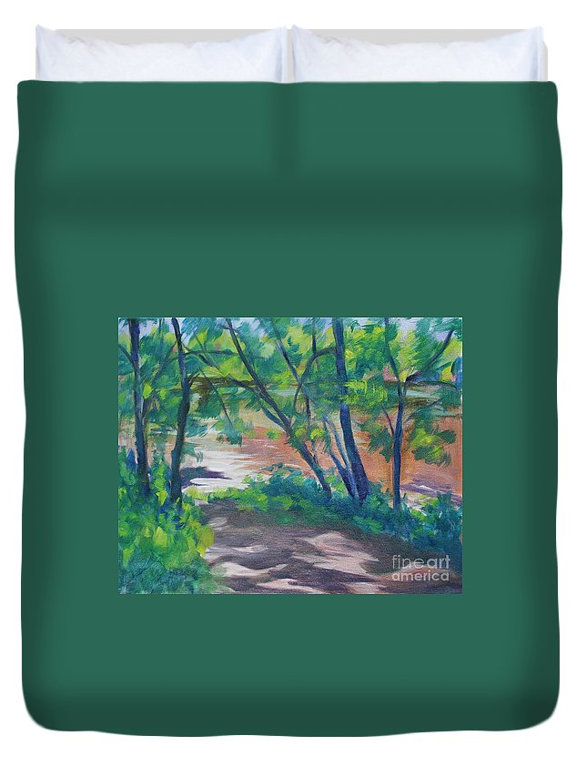 Landscape Duvet Cover featuring the painting Watercress Beach on the Current River  by Jan Bennicoff