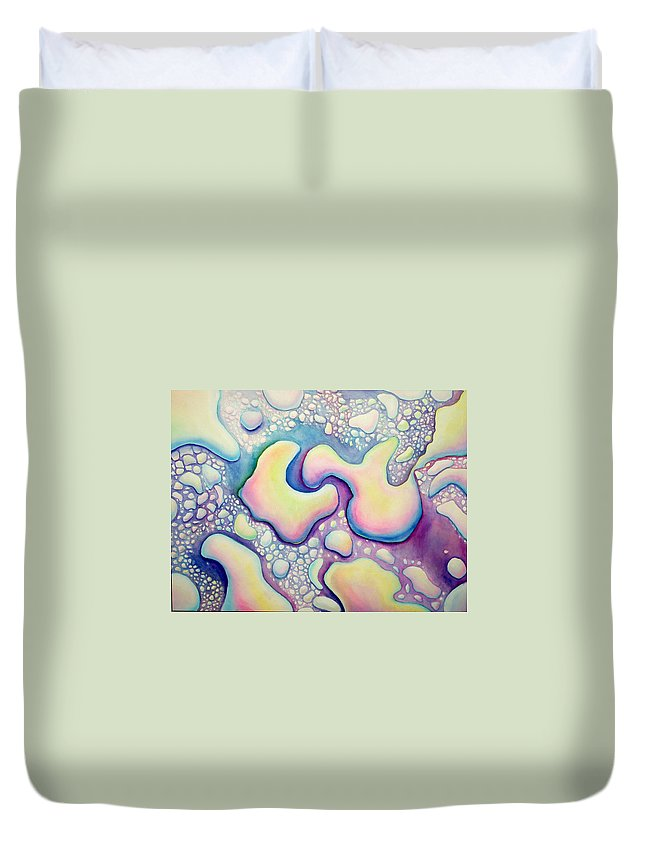Water Duvet Cover featuring the painting Waterdrop Dance by Nancy Mueller