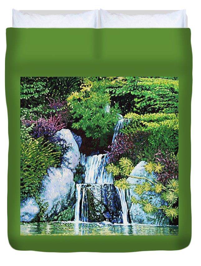 Waterfall Duvet Cover featuring the painting Waterfall At Japanese Garden by John Lautermilch
