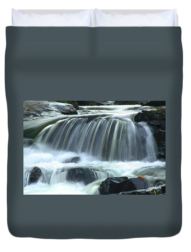 Waterfall Duvet Cover featuring the photograph Waterfall by Francesa Miller