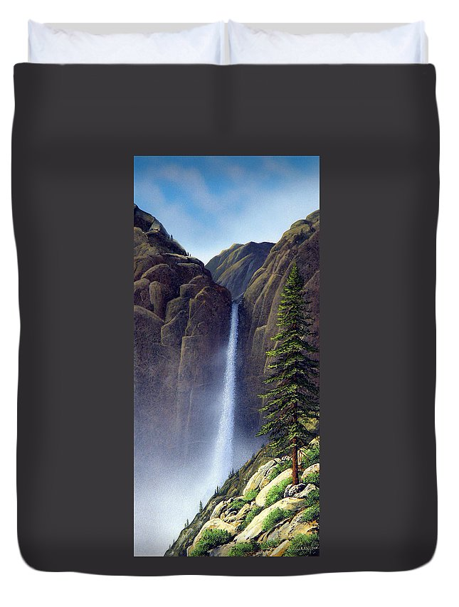 Wilderness Duvet Cover featuring the painting Waterfall by Frank Wilson