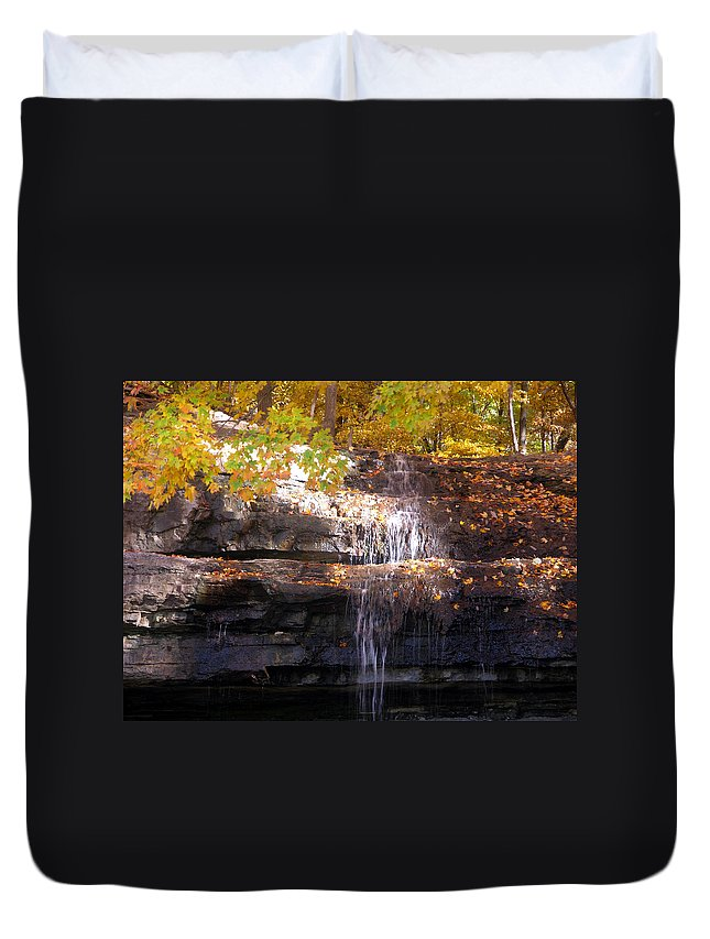 Waterfall Duvet Cover featuring the photograph Waterfall in Creve Coeur by John Lautermilch
