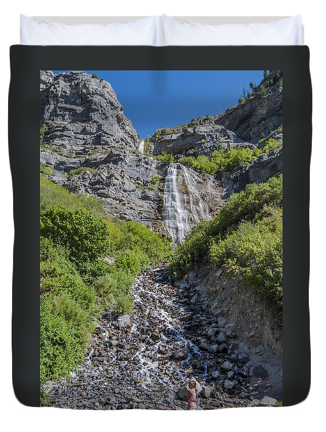 Waterfall Duvet Cover featuring the photograph Waterfall Love by Andrea Stapleton