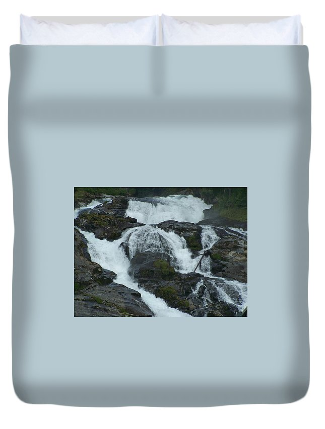 Waterfall Duvet Cover featuring the photograph Waterfall by Mariana Goia