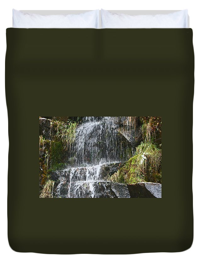 Waterfalls Duvet Cover featuring the photograph Waterfall On Mount Ranier by David Campbell