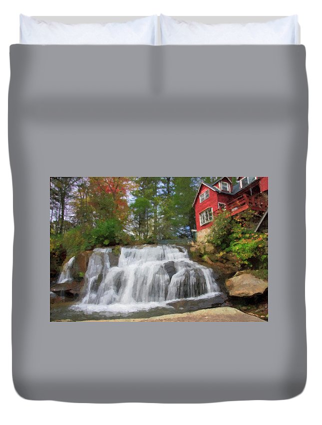 Waterfall Painting Duvet Cover featuring the digital art Waterfall Painting by Jill Lang