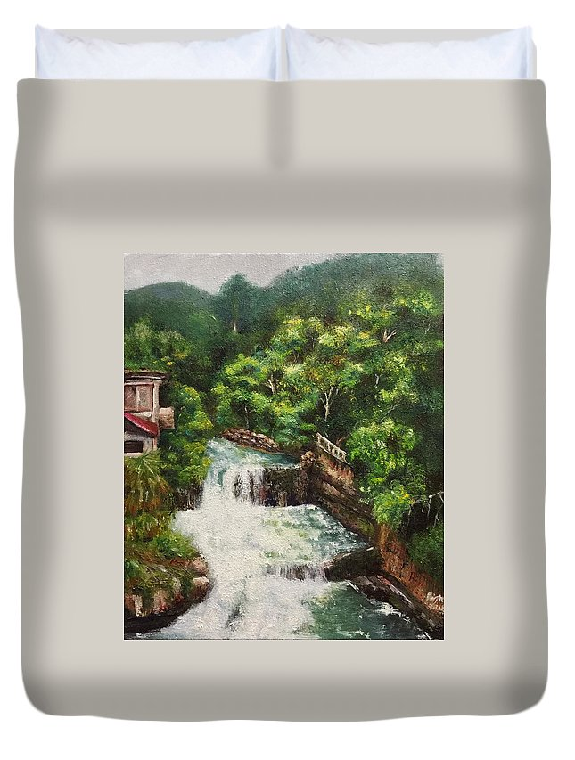Landscape Duvet Cover featuring the painting Waterfall by Regina Chen