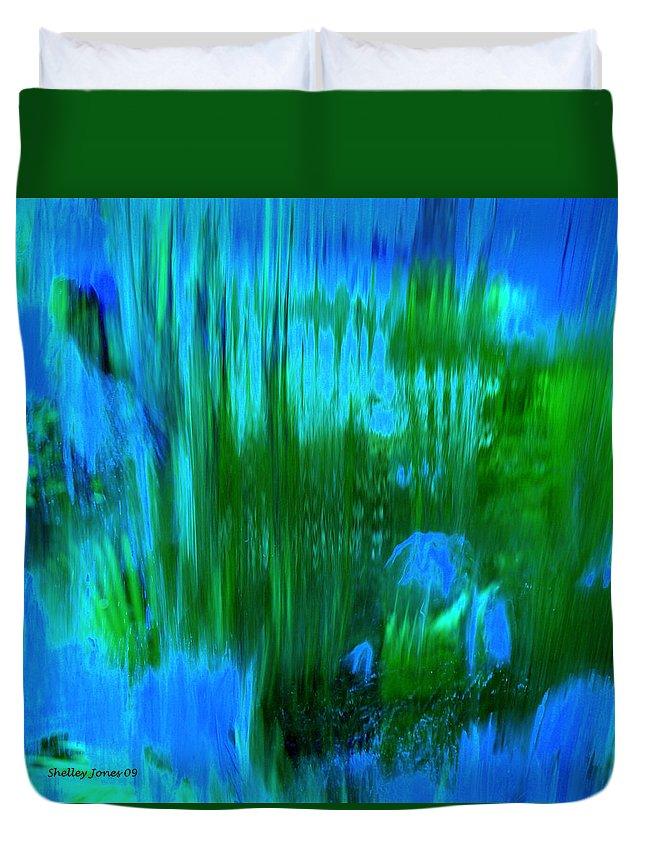 Digital Art Duvet Cover featuring the digital art Waterfall by Shelley Jones