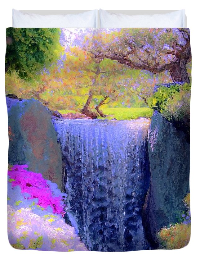 Tree Duvet Cover featuring the painting Waterfall Spring Colors by Susanna Katherine