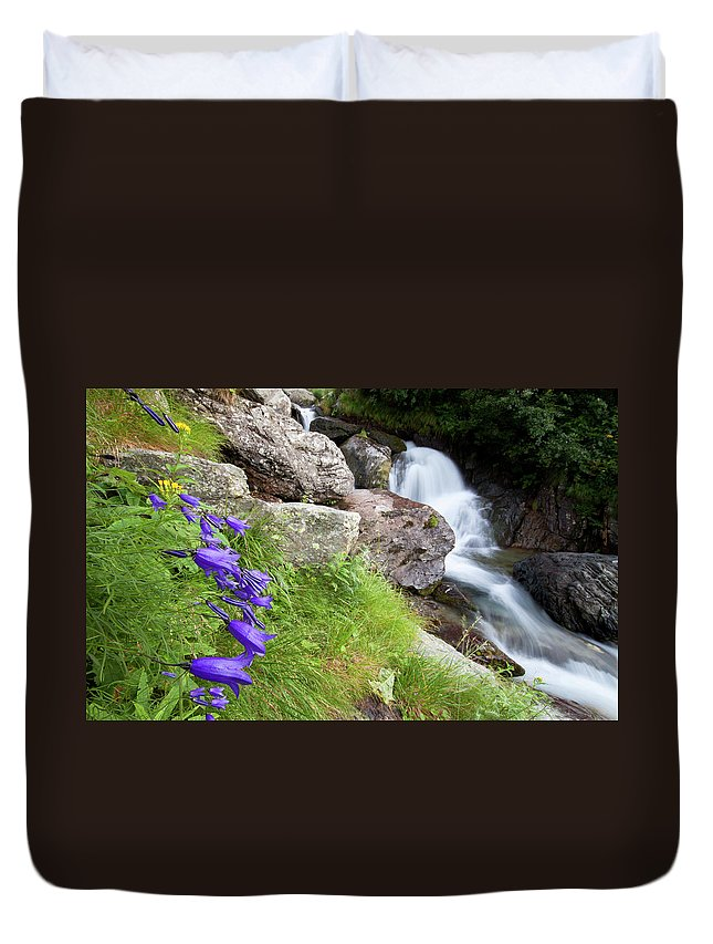 Wild Duvet Cover featuring the photograph Waterfalls And Bluebells by Mircea Costina Photography
