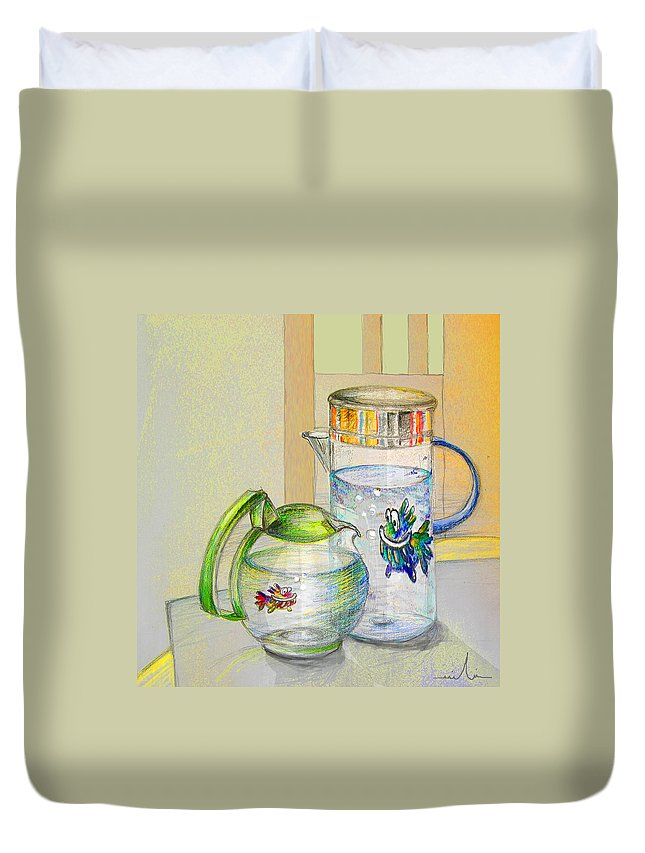 Still Life Duvet Cover featuring the painting Waterfest Love by Miki De Goodaboom