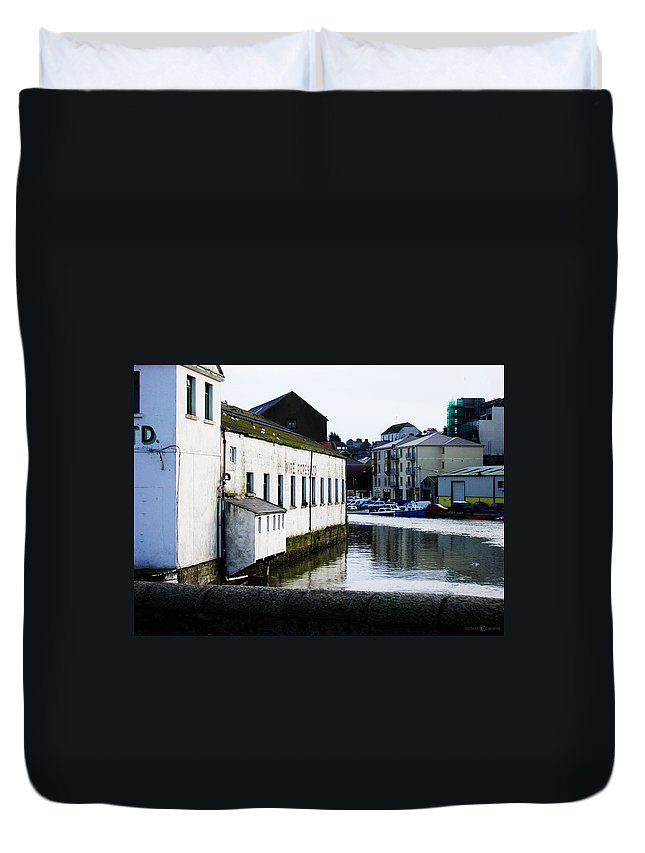 River Duvet Cover featuring the photograph Waterfront Factory by Tim Nyberg