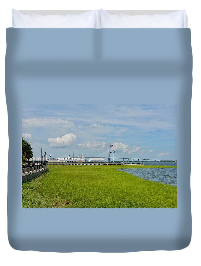Charleston Duvet Cover featuring the photograph Waterfront Park Charleston by Greg Joens