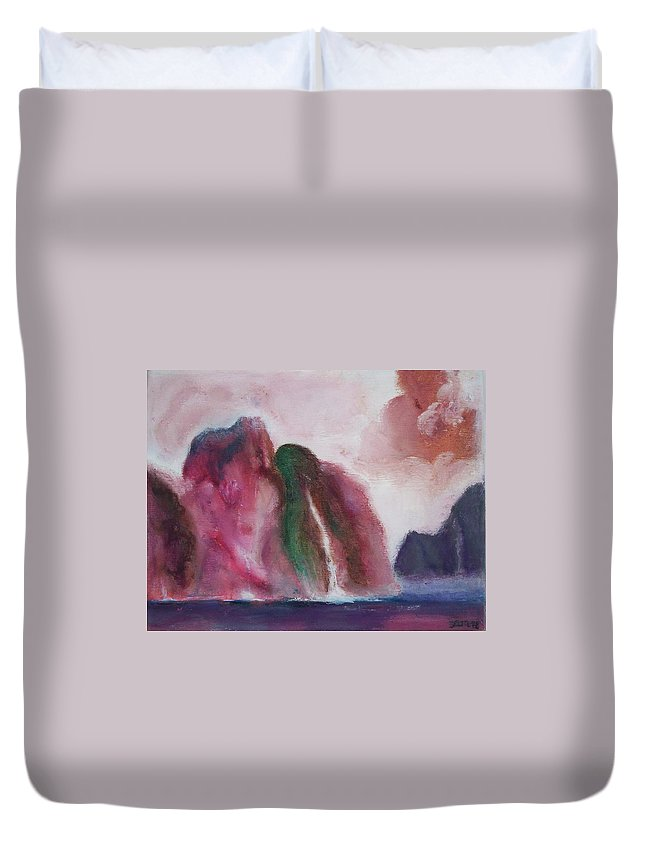 Abstract Painting Duvet Cover featuring the painting Waterfull by Suzanne Udell Levinger