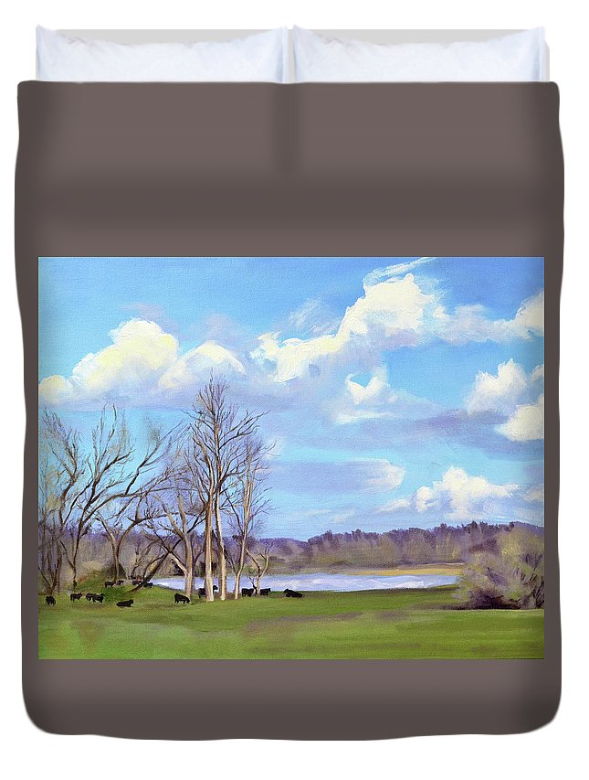 Cows Duvet Cover featuring the painting Watering Hole with Cows by Mary Chant
