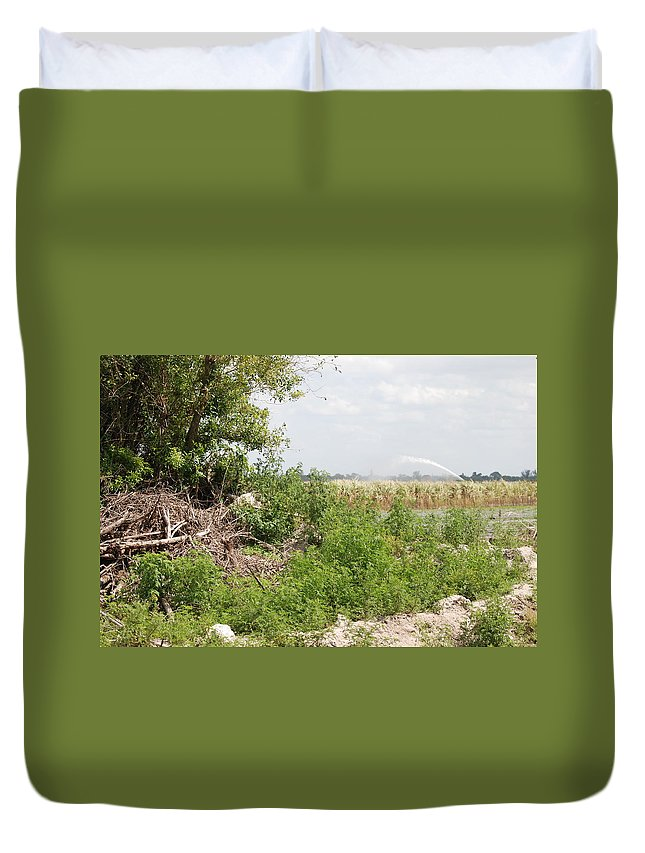 Leaves Duvet Cover featuring the photograph Watering The Weeds by Rob Hans
