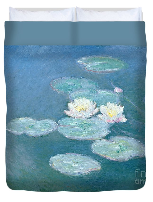 Waterlilies Duvet Cover featuring the painting Waterlilies Evening by Claude Monet