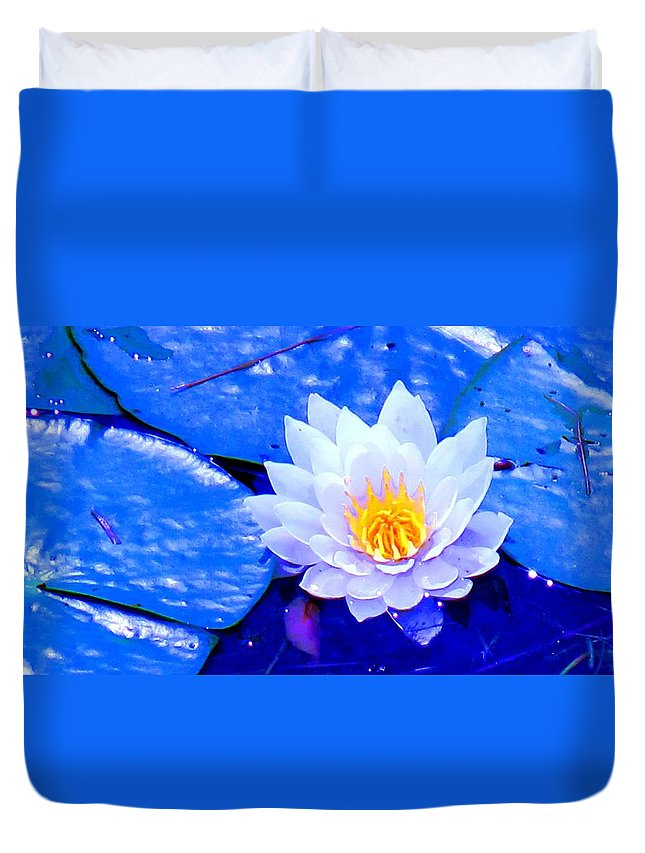 Waterlilly Duvet Cover featuring the photograph Blue Water Lily by Ian MacDonald