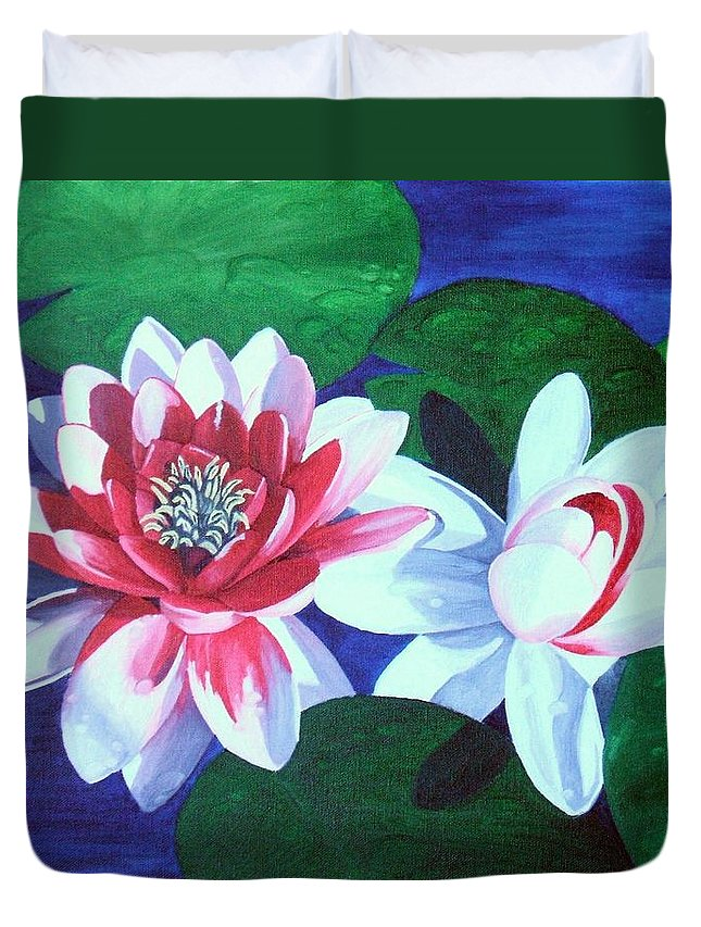 Water Lilies Duvet Cover featuring the painting Waterlily Dance by Brandy House