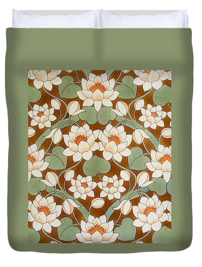 Waterlilies. Ogee Pattern. Twining Leaves. Flower Buds. Duvet Cover featuring the painting Waterlily Ogee by Lynette Carrington-Smith