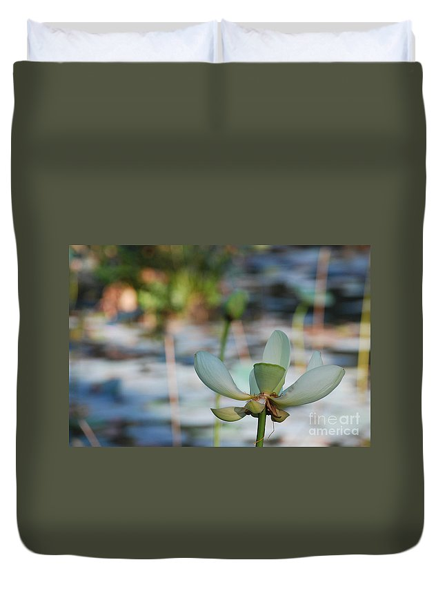 Botanical Duvet Cover featuring the photograph Waterlily Wash Horizontal by Heather Kirk
