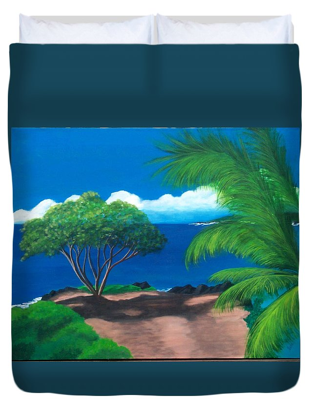 Water Duvet Cover featuring the painting Water's Edge by Nancy Nuce