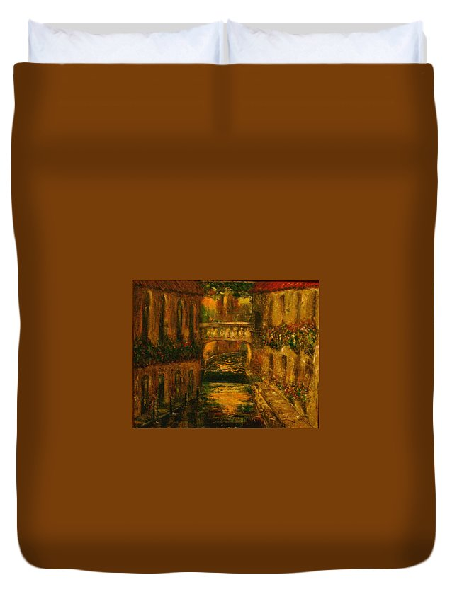 Landscape Duvet Cover featuring the painting Waters of Europe by Stephen King