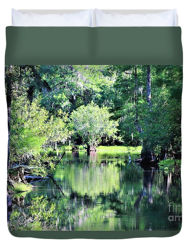 Reflections Duvet Cover featuring the photograph Waterscape #1 Hillsborough River by Diann Fisher