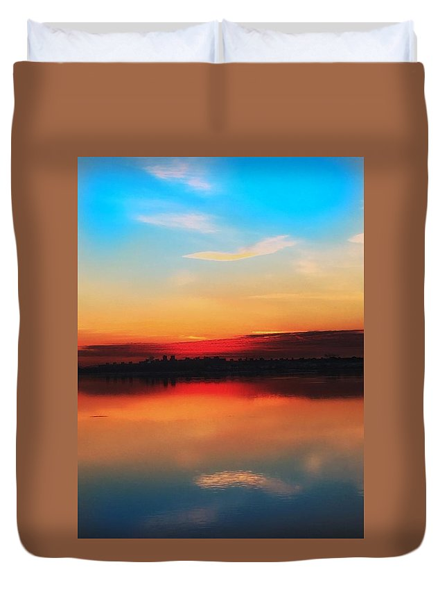 Sunrise  Duvet Cover featuring the photograph Waterside by Robert Villano