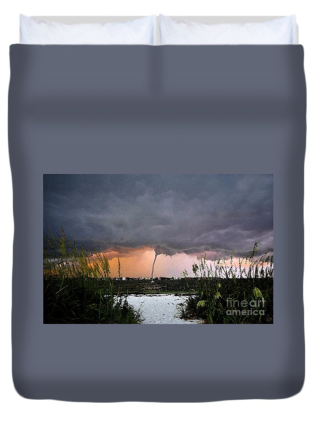 Waterspout Duvet Cover featuring the painting Waterspout Over Pass A Grill by David Lee Thompson