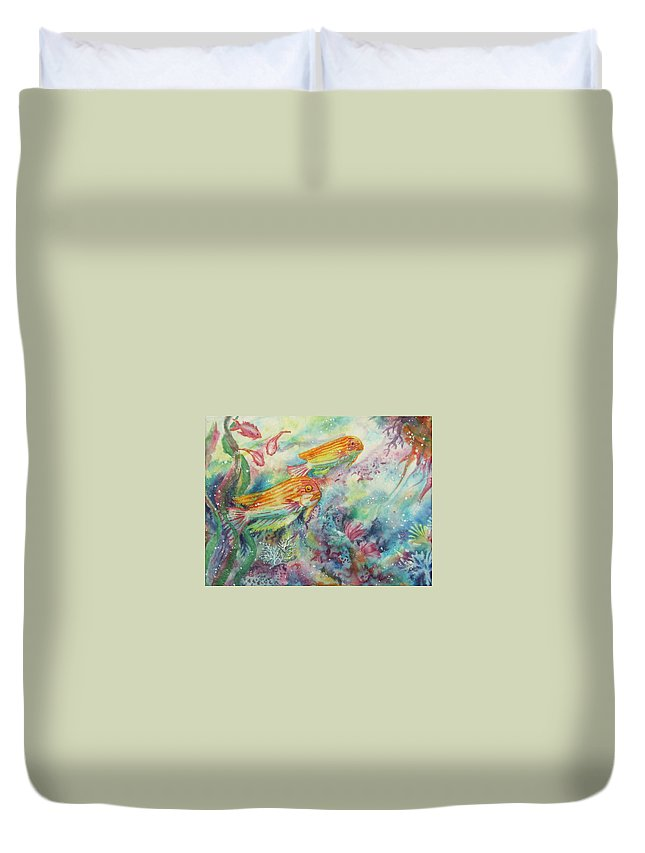 Fish Duvet Cover featuring the painting Watery World 1 by Deborah Younglao