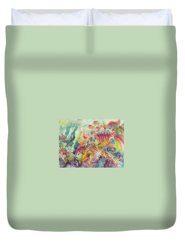 Fish Duvet Cover featuring the painting Watery World 2 by Deborah Younglao