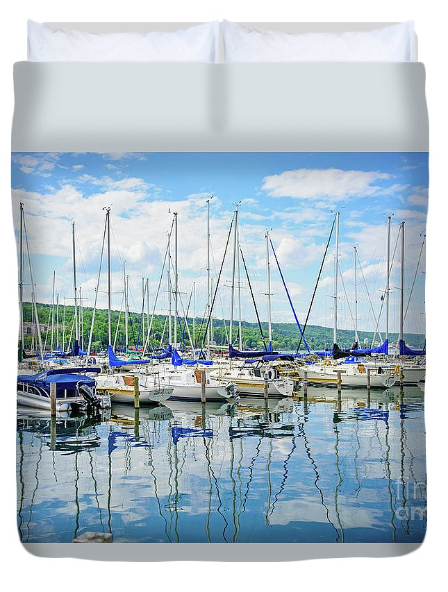 Travel Duvet Cover featuring the photograph Glen Harbour Marina by Anna Serebryanik