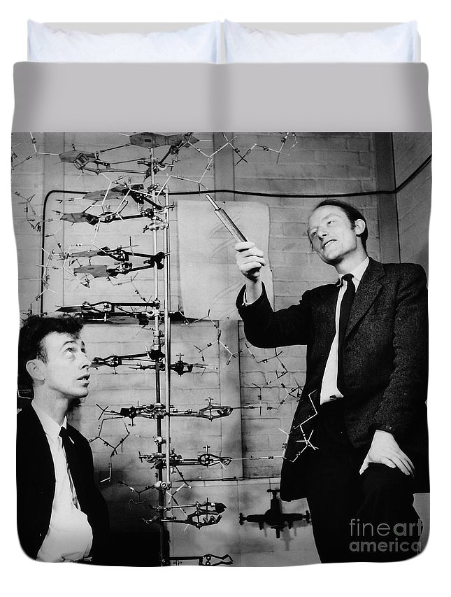 Watson Duvet Cover featuring the photograph Watson And Crick by A Barrington Brown and Photo Researchers