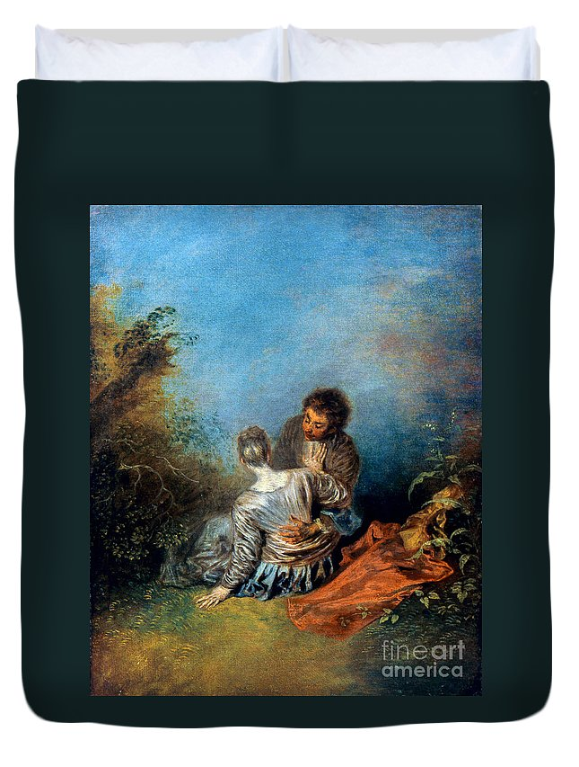 1717 Duvet Cover featuring the photograph Watteau: False Step, C1717 by Granger
