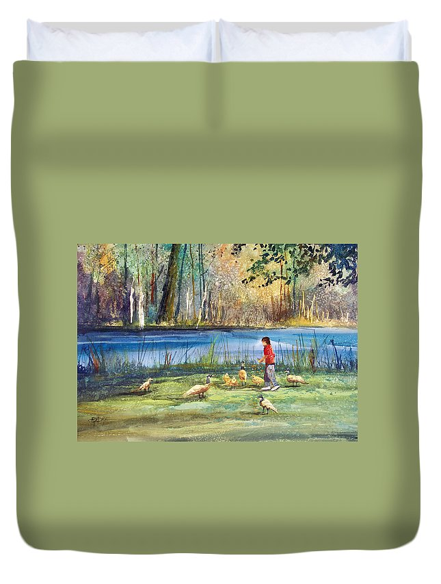 Ryan Radke Duvet Cover featuring the painting Wautoma Mill Pond by Ryan Radke