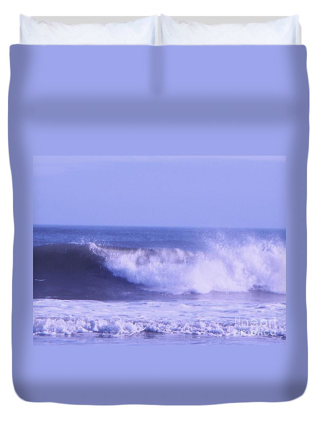 Wave Duvet Cover featuring the photograph Wave At Jersey Shore by Eric Schiabor