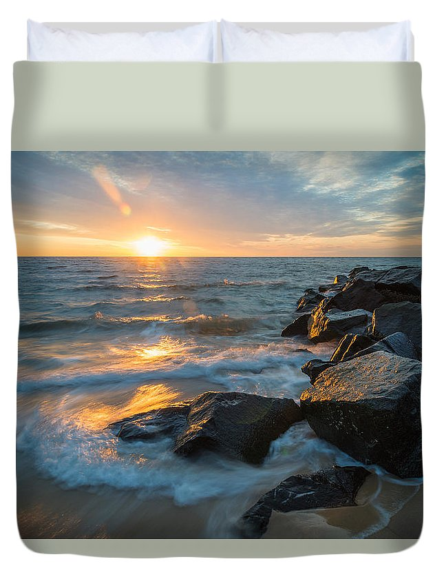 New Jersey Duvet Cover featuring the photograph Wave Break by Kristopher Schoenleber