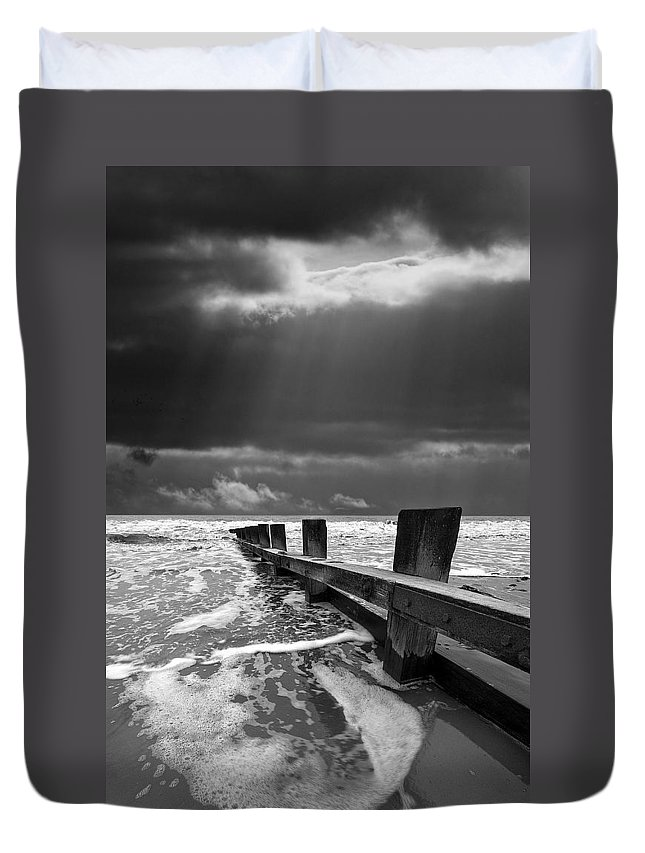 Groyne Duvet Cover featuring the photograph Wave Defenses by Meirion Matthias