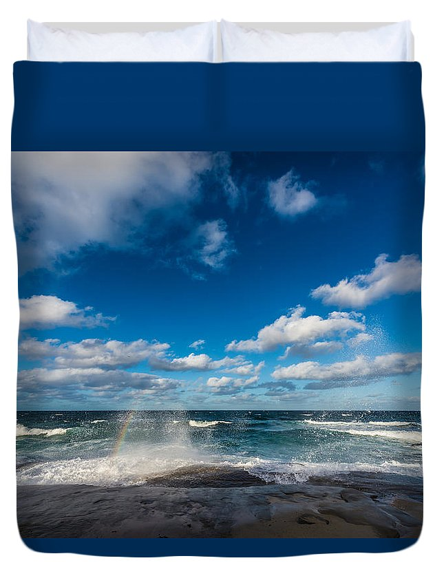 Rainbow Duvet Cover featuring the photograph Wave Rainbow by David Downs