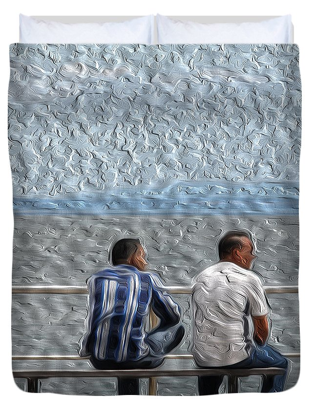 Wave Watchers Duvet Cover featuring the photograph Wave Watchers by Dave Byrne