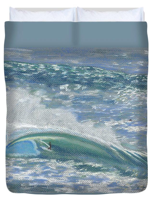 Art Duvet Cover featuring the painting Waverider by Patti Bruce - Printscapes