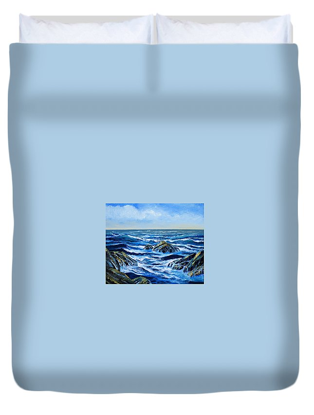 Ocean Duvet Cover featuring the painting Waves And Foam by Frank Wilson